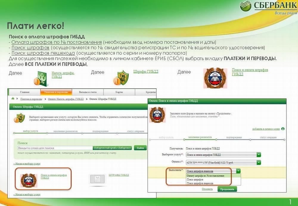 Оплата штрафов через Сбербанк-онлайн
