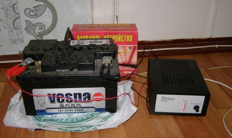 Процесс зарядки аккумулятора