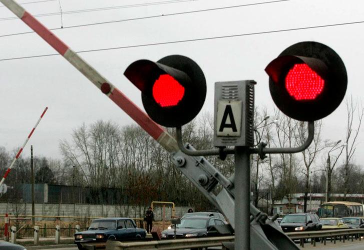 Красный сигнал на ж/д путях