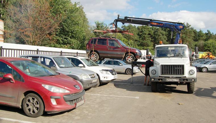 Автомобиль на штрафстоянке после эвакуации