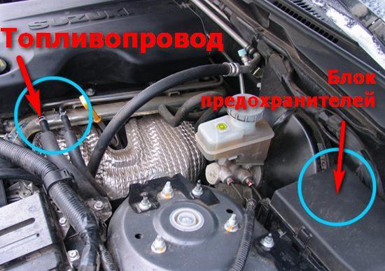 Расположение топливопровода