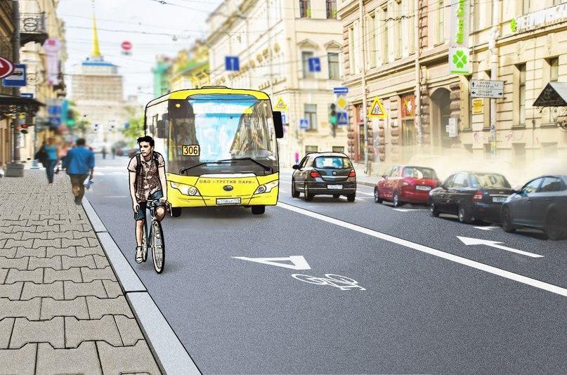 Велосипедист на полосе для общественного транспорта