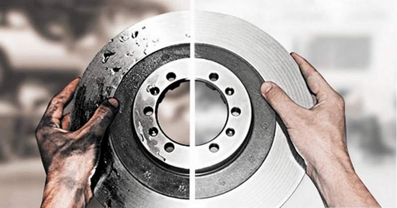 Тормозной диск до и после проточки