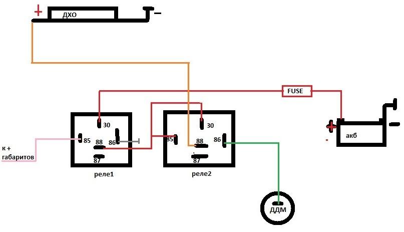 Схема подключения ДХО к датчику масла
